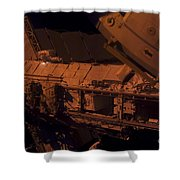 In The Darkness Of Space, An Astronaut Shower Curtain by Stocktrek Images
