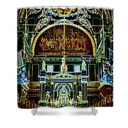 Inside St Louis Cathedral Jackson Square French Quarter New Orleans Glowing Edges Digital Art Shower Curtain by Shawn O'Brien