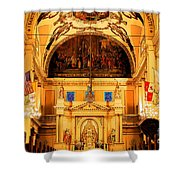 Inside St Louis Cathedral Jackson Square French Quarter New Orleans Ink Outlines Digital Art Shower Curtain by Shawn O'Brien