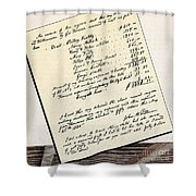 Invoice Of A Sale Of Black Slaves Shower Curtain by Photo Researchers
