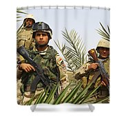 Iraqi Soldiers Conduct A Foot Patrol Shower Curtain by Stocktrek Images