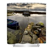Islay, Scotland Two Boats Anchored By A Shower Curtain by John Short