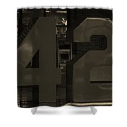 Jackie Robinson 42 In Sepia Shower Curtain by Rob Hans