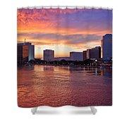Jacksonville Skyline At Dusk Shower Curtain by Debra and Dave Vanderlaan