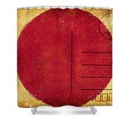 Japan Flag Postcard Shower Curtain by Setsiri Silapasuwanchai