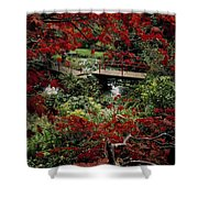 Japanese Garden, Through Acer In Shower Curtain by The Irish Image Collection