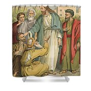 Jesus And The Blind Men Shower Curtain by English School
