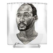 Karl Malone Shower Curtain by Tamir Barkan