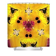 Kitty Petals Shower Curtain by Cheryl Young