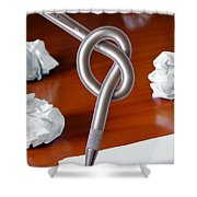 Knot on Pen Shower Curtain by Carlos Caetano