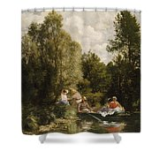 La Mare Aux Fees Shower Curtain by Pierre Auguste Renoir