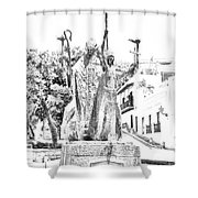 La Rogativa Sculpture Old San Juan Puerto Rico Black And White Line Art Shower Curtain by Shawn O'Brien