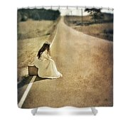 Lady In Gown Sitting By Road On Suitcase Shower Curtain by Jill Battaglia