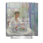 Lady Reading At An Open Window  Shower Curtain by Clementine Helene Dufau