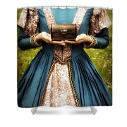 lady with a chest Shower Curtain by Joana Kruse