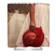 Lady With Hat Shower Curtain by Joana Kruse