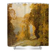 Lake Bourget From Mont Revard  Shower Curtain by Sir Alfred East