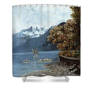 Lake Leman Shower Curtain by Gustave Courbet
