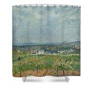 Landscape In Pontoise Shower Curtain by Camille Pissarro