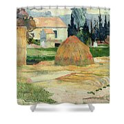 Landscape Near Arles Shower Curtain by Paul Gauguin