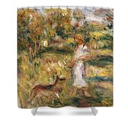 Landscape with a Woman in Blue Shower Curtain by Pierre Auguste Renoir