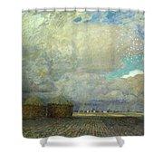 Landscape With Huts Shower Curtain by Leopold Karl Walter von Kalckreuth