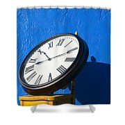 Large Clock On Yellow Chair Shower Curtain by Garry Gay