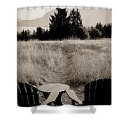 Lawn Chair View Of Field Shower Curtain by Darcy Michaelchuk