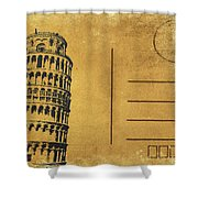 Leaning Tower Of Pisa Postcard Shower Curtain by Setsiri Silapasuwanchai