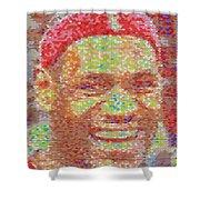 Lebron James Pez Candy Mosaic Shower Curtain by Paul Van Scott