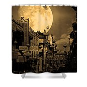 Legend of The Great White Phoenix of Chinatown . 7D7172 . Sepia Shower Curtain by Wingsdomain Art and Photography