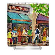 Lester's Deli Montreal Cafe Summer Scene Shower Curtain by Carole Spandau