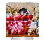 Licorice And Chocolate Covered Peanuts Shower Curtain by Susan Savad