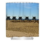 Lifeguard Stand's On The Beach Shower Curtain by Micah May