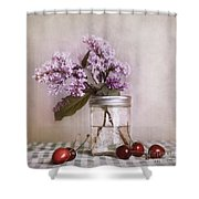 Lilac And Cherries Shower Curtain by Priska Wettstein