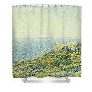 L'ile Du Levant Vu Du Cap Benat Shower Curtain by Theo van Rysselberghe