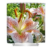 Lily Flowers Floral Prints Photography Orange Lilies Shower Curtain by Baslee Troutman