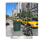 Lined Up for Business Shower Curtain by Randi Shenkman