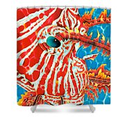 Lion Fish Face Shower Curtain by Daniel Jean-Baptiste