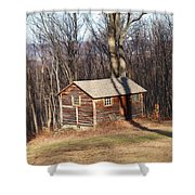 Little House In The Woods Shower Curtain by Robert Margetts