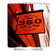 Local 360 In Orange Shower Curtain by Kym Backland