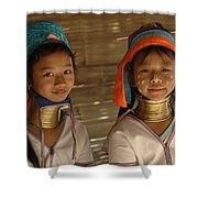 Long Neck Girls Shower Curtain by Bob Christopher