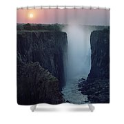 Looking Along Victoria Falls At Dusk Shower Curtain by Axiom Photographic