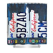 Los Angeles Skyline License Plate Art Shower Curtain by Design Turnpike