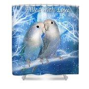 Love At Christmas Card Shower Curtain by Carol Cavalaris