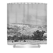 Low Winter Storm Clouds Colorado Rocky Mountain Foothills 7 Bw Shower Curtain by James BO  Insogna