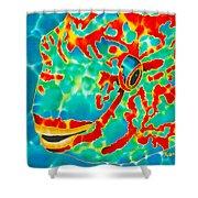 Lucky Parrotfish Shower Curtain by Daniel Jean-Baptiste