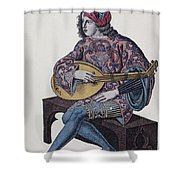 Lute Player, 1839 Shower Curtain by Granger