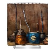 Machinist - Tools - Lubrication Dispensers  Shower Curtain by Mike Savad
