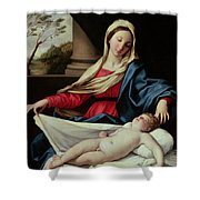 Madonna And Child  Shower Curtain by II Sassoferrato